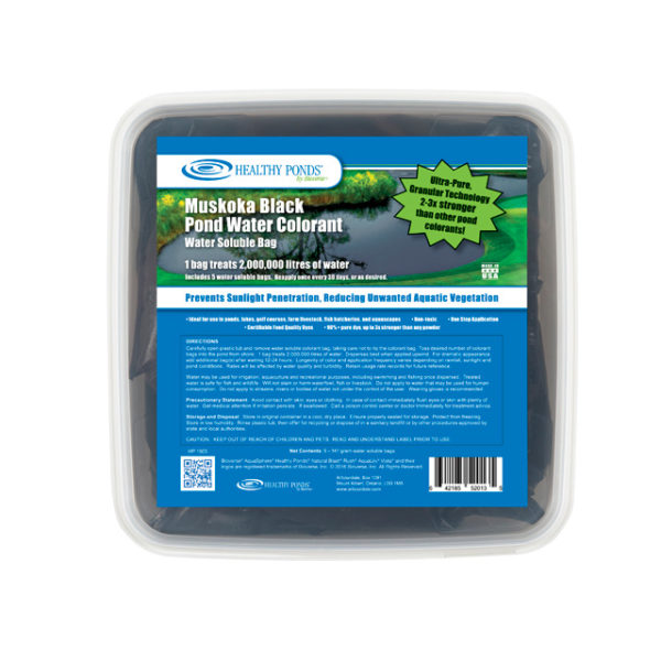 Healthy Ponds® Black Pond Water Colorant 5 count Tub - one bag treats up to 500,000 gallons